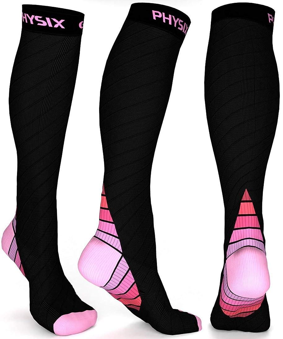 牧草地切り離す請求Physix Gearコンプレッションソックス男性用/女性用(20?30 mmHg)最高の段階的なフィット ランニング、看護、過労性脛部痛、フライトトラベル&マタニティ妊娠 – スタミナ、循環&回復 (BLACK & PINK S-M)