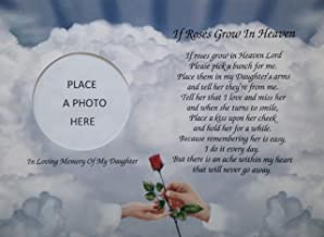 Cazual Creations in Memory of Daughter If Roses Grow in Heaven Memorial Poem Gift for Loss of Child