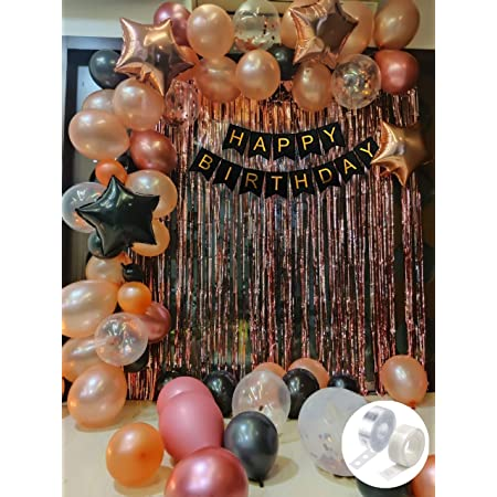 Party Propz Rubber Rose Gold Birthday Decorations Combo Black Banner With Confetti Balloons, Star Foil Balloons, Foil Curtain for 1st 18th 21st 25th 50th 60th 30th Decorations - Set of 68