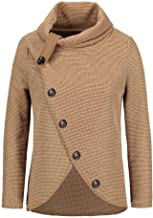 Womens Turtleneck Sweater Plus Size AmyDong Asymmetric Hem Wrap Pullover Coat with Button Shirt Hoodies Outwear