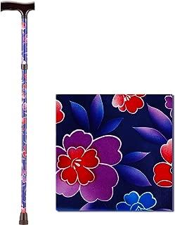 NOVA Folding Walking Cane with Wood Grip Handle, Foldable & Adjustable Travel Cane with Wood Comfort Handle, Maui Flowers