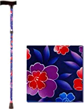 NOVA Folding Walking Cane with Wood Grip Handle, Foldable & Adjustable Travel Cane with Wood Comfort Handle, Maui Flowers