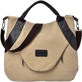 Wultia - Bags for Women Retro Women's Canvas Zipper Shoulder Bags with Corssbody Bag&Handbag Bolsa Feminina Khaki