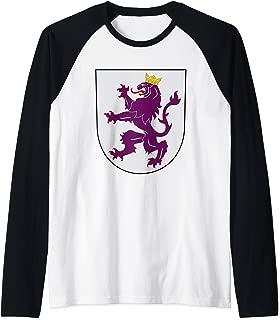 Kingdom of Leon Coat of Arms Crest Spain Portugal History Raglan Baseball Tee