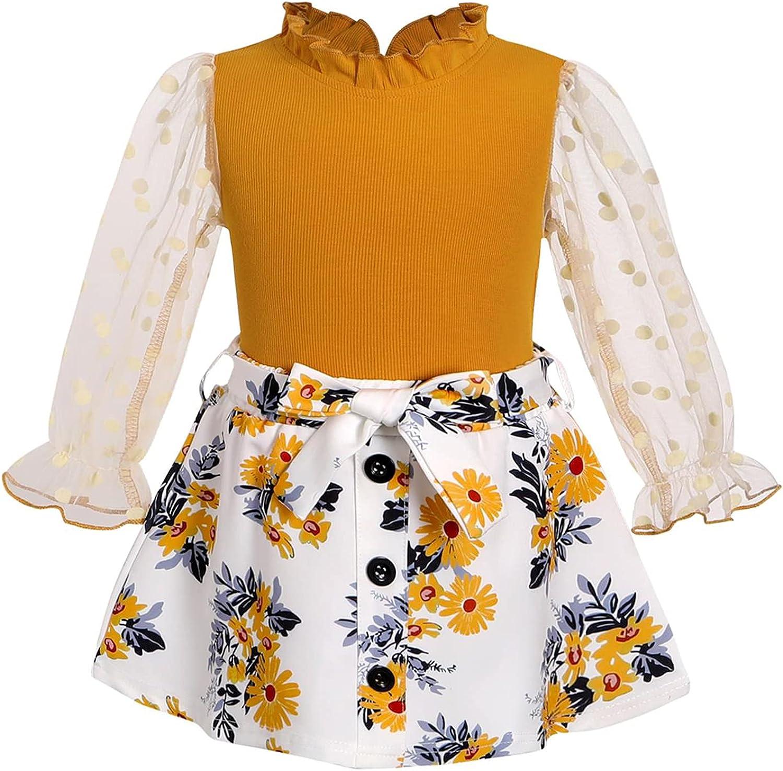 Toddler Girl Dress Clothes Mesh Sleeve Mock Neck Blouse Tops+Self-Belt Floral Leopard Skirt Girls Fall Outfits Set