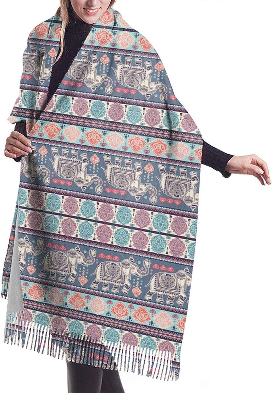 Vintage Indian Elephant Cashmere Feel Scarf Lightweight Soft Scarfs For Boys Girls Creative Warm Cold Weather Blanket Scarf