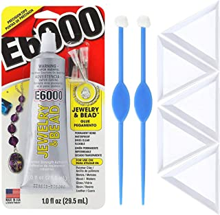 E6000 1-Ounce Jewelry and Bead Adhesive with 4 Precision Applicator Tips for Jewelry, 2X Beadaholique Perfect Positioner, 5X Pixiss Triangle Bead Trays