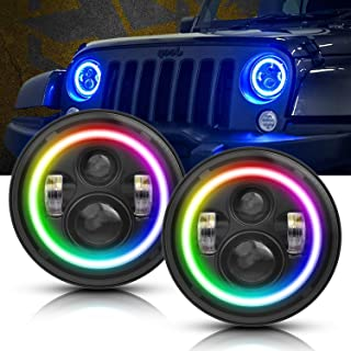 T-Former 7 inch RGB Halo LED Headlights for Jeep Wrangler JK LJ CJ Sahara Sport Rubicon Hummer H1 H2   2rd Generation Phone Controled, More Bright and Durable Headlights   DOT Approved