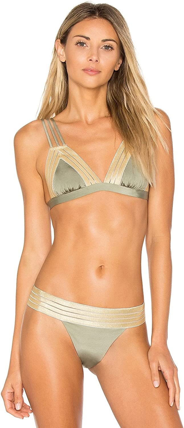 Beach Bunny Sheer Addiction in gold Tri Top B17123T313