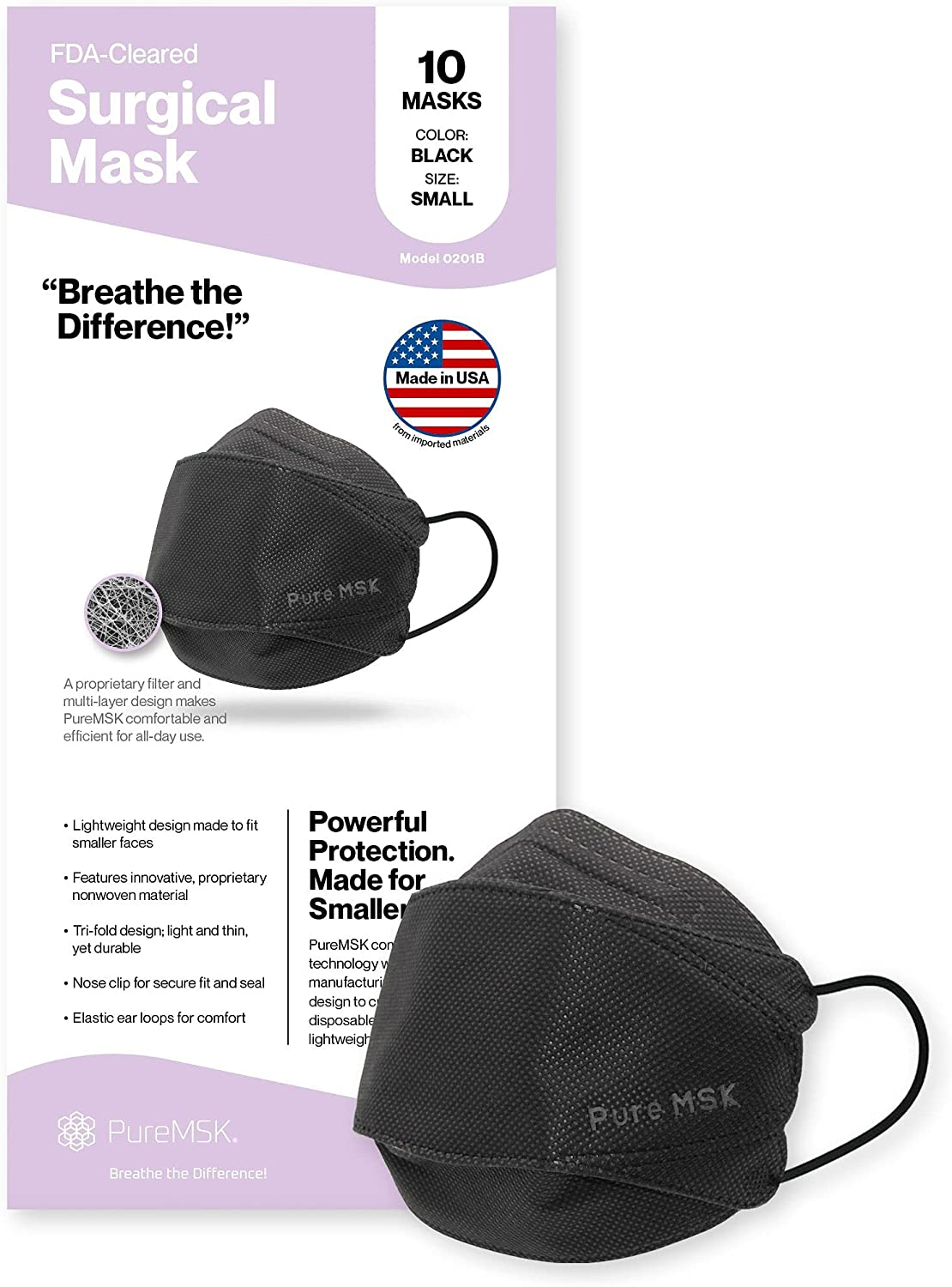 PURE-MSK Trifold Ranking TOP19 Disposable Mask Portland Mall - Made in USA Light the Weigh