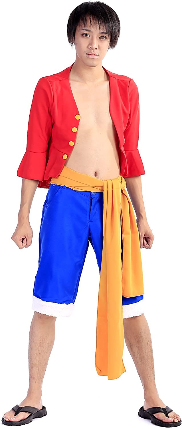 DeCos Cosplay Costume Straw Hat Monkey D Luffy Red Black Outfit 1st Version Set