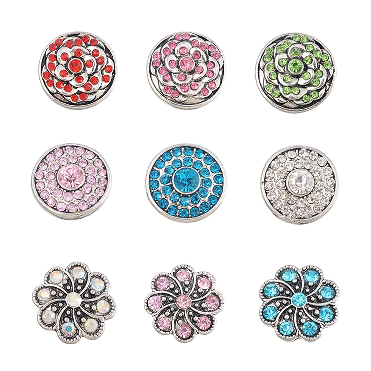Souarts Pack of 9pcs Mix Rhinestone Round 5.5mm Size Snap Jewelry Charms