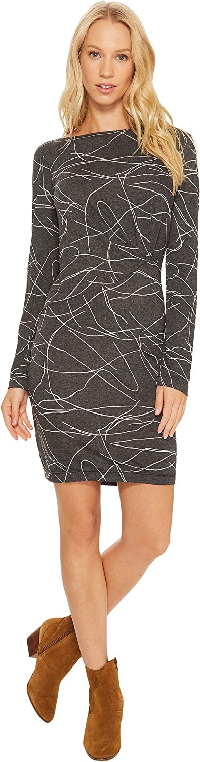 Three Dots Women's Squiggle Burnout Pleated Long Tight Dress