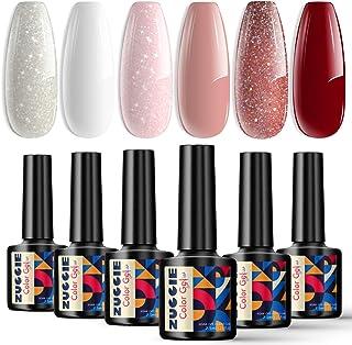 ZUCCIE Bride Beauty Gel Nail Polish Set, Glitter Red Gel Nail Polish Kit, 6 Colors Snow White Glitter Rose Pink Nude Nail ...