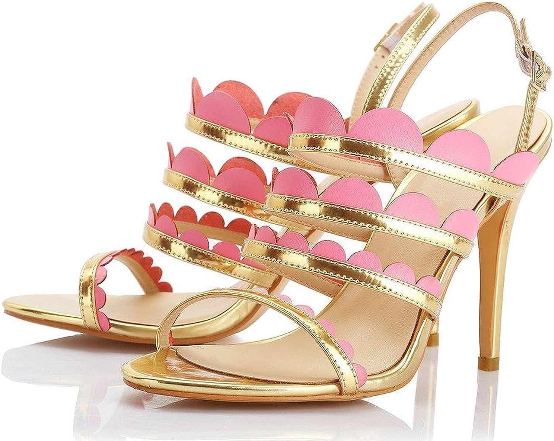 AIWEIYi Womens Stiletto High Heel Open Toe Buckle Strap Dress Sandals gold