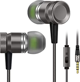 Rythsans Durable Metal Housing Headphones, Noise Isolating Earbuds, High Definition Basic in Ear Earbuds with Microphone for iPhone 6/6s/6s Plus, Galaxy, Android Phone (Grey)