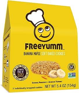 FreeYumm Allergen Free Cookies, Gluten Free, Dairy Free, Nut Free Snacks for Kids, Total of 21 Cookies (Banana Maple)