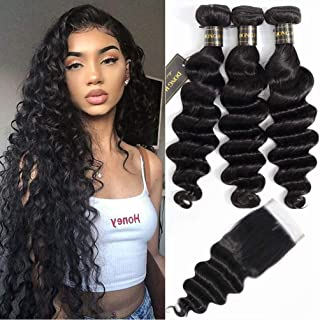 Peruvian Loose Deep Wave Bundles with Closure, (18 20 22 with 16 Closure)Long Loose Deep Curly Hair 9A Peruvian Virgin Hair 3 Bundles with 4x4 Top French Lace Closure with Baby Hair