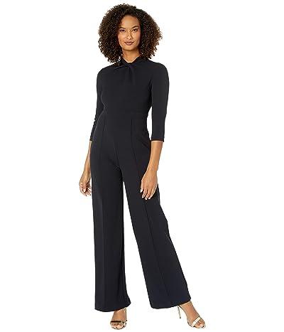 Donna Morgan 3/4 Sleeve Twisted Neckline Crepe Jumpsuit (Marine Navy) Women