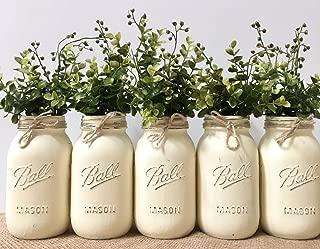 Mason Jar Centerpiece Set, Your Choice of Jar Colors, 5 PINT SIZE or 5 QUART SIZE Jars, Silk Flowers Optional