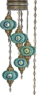 (10 Colors) Swag Plug in Light, Demmex 5 Big Globes Turkish Moroccan Mosaic Tiffany Swag Wall Plug in Ceiling Hanging Light Chandelier Lighting, 15feet Chain Cord North American Plug (Teal)