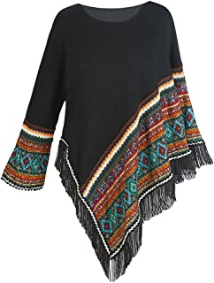 Women's Sweater Knit Poncho - Black Fringed Aztec Print Pullover Cape
