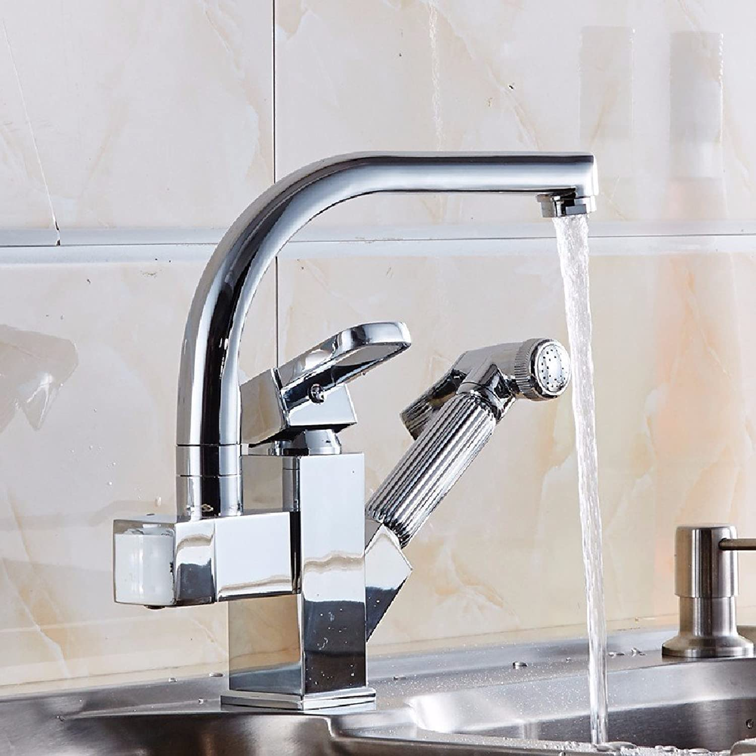 Gyps Faucet Basin Mixer Tap Waterfall Faucet Antique Bathroom Pull kitchen faucet full copper lead-free hot and cold dish washing basin to redate the dish sink basin mixer