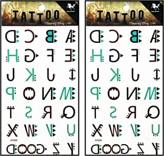Tattoos 2 Sheets Brown Green A-Z Letters Temporary Tattoos Body Art Stickers Fake Waterproof Removable Stickers Party for Teens Men Women