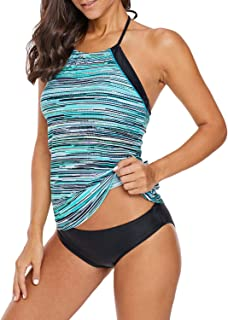 3d2aed130aa Biucly Women s Stylish Sexy Striped Printed Tankini Swimsuit Top Swimwear  Bathing Suit No Bottom