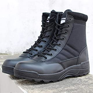 BETOOSEN Men Outdoor Waterproof Hiking Shoes Leather Anti-Skid Shock Absorption Lightweight Breathable Comfortable Trekking Sneakers