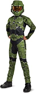 Halo Infinite Master Chief Costume, Kids Size Video Game Inspired Character Jumpsuit, Classic Child Size Large (10-12)