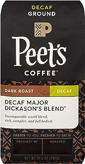 Peet's Coffee Decaf Major Dickason's Blend, Dark Roast Ground Coffee, 10.5 Ounce Bag, Decaffeinated