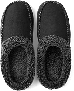 ULTRAIDEAS Men's Cozy Memory Foam Moccasin Suede Slippers with Fuzzy Plush Wool-Like Lining, Slip on Mules Clogs House Shoes with Indoor Outdoor Anti-Skid Rubber Sole