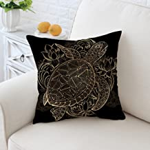 Sleepwish Cushion Cover 18 x 18 Black and Gold Decorative Pillows Design Square Throw Pillow Cover Sofa Throw Pillow Case (Large Tortoise)