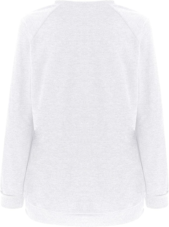 RFNIU Halloween Shirts For Women Fall Fashion Casual Round Neck Sweatshirt Letter Printing Long Sleeve Pullover Tops