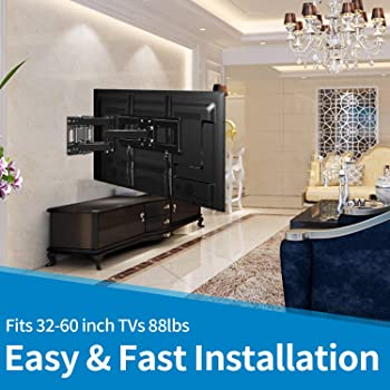 """Everstone TV Wall Mount for Most 32""""-65"""" TVs Heavy Duty Dual Arm Articulating Full Motion Tilt Swivel 14"""" Extension B..."""