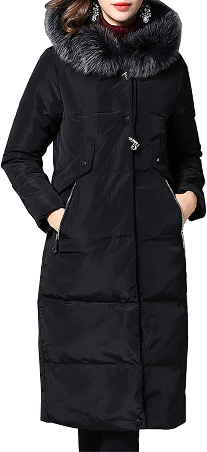 Allonly Women's Slim Fit Long Puffer Down Jacket Coat With Faux Fur Collar And Hood