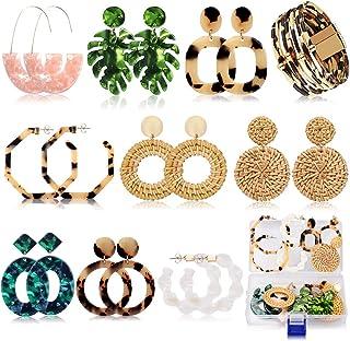 Fashion Acrylic Earrings for Women Girls Drop Dangle Leaf Earrings Resin Minimalist Bohemian Statement Jewelry (9 pair Rat...