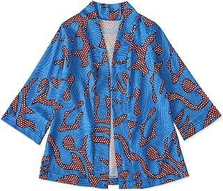 سترة كيمونو للأطفال البنات الصغار أزياء أفريقية طباعة سترة كيمونو ملابس طويلة الأكمام
