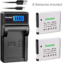 Kastar Battery (X2) & LCD Slim USB Charger for Canon NB-8L, NB8L, CB-2LAE and Canon PowerShot A2200, PowerShot A3000 is, PowerShot A3100 is, PowerShot A3200 is, PowerShot A3300 is Cameras
