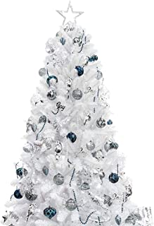 Best KI Store 7ft Artificial Christmas Tree with Ornaments and Lights White Christmas Decorations Including 7 Feet Full Tree, 135pcs Ornaments, 2 pcs 59ft USB Mini LED String Lights Review
