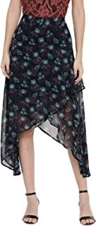 Chumbak Floral Print Navy Polyester Asymmetrical Skirt
