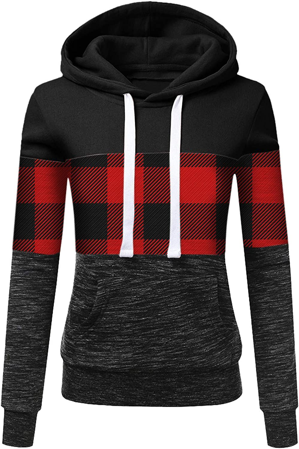 Outlet ☆ Free Shipping Hotkey Hoodies for Women Indefinitely Long Hooded Red Plaid Sweatshirt Sleeve