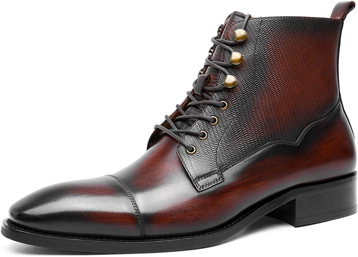 Mens Lace-Up Boots Fashion Leather Cap Toe Formal Dress Oxford Ankle Business Biker Boots Black Burgundy