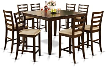 East West Furniture 9-Piece Counter Height Dining Table Set