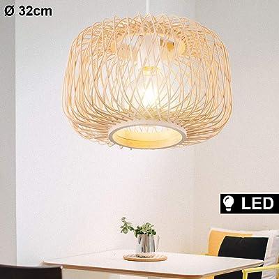 Wohnzimmer Decken Pendel Leuchte Bambus Geflecht Kugel Hänge Lampe natur-farbig