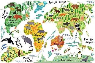 WINOMO Väggklistermärken tecknat djur världskarta för barnrum salong TV väggdekal heminredning