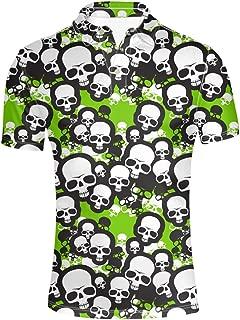 HUGS IDEA Retro Men's Polos Shirt Skull Short Sleevee T-Shirts