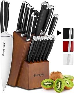 Emojoy Couteaux de Cuisine, Ensemble de Couteaux 15 pièces avec Bloc de Couteaux, Set Couteaux Cuisine Professionnels en A...