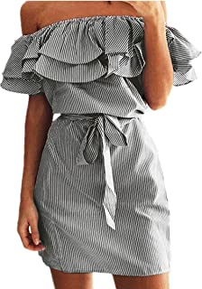 Women's Casual Off Shoulder Striped Ruffles Strapless Short Dresses Mini Dresses